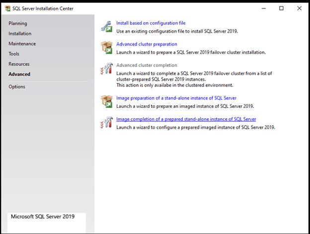 Advanced installation options for SQL Server